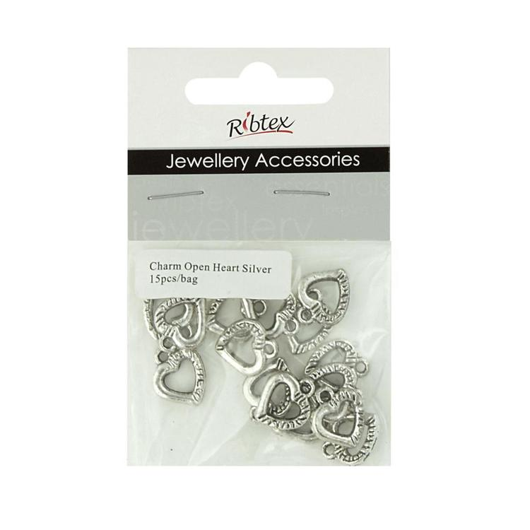 Ribtex Jewellery Accessories Bali Open Heart Charms Silver