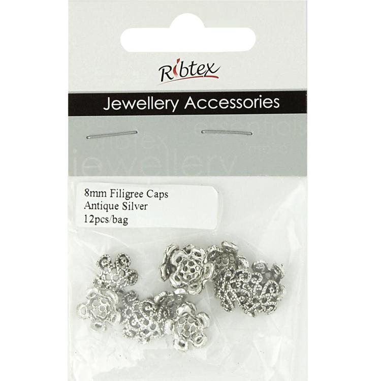 Ribtex Jewellery Accessories Filigree Bead Cap Silver 8 mm