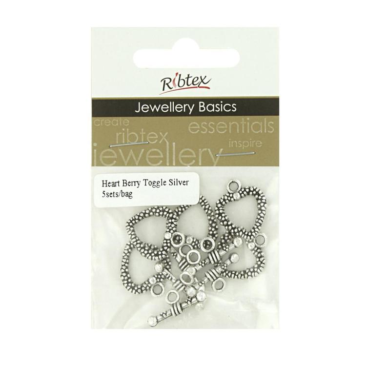 Ribtex Jewellery Basics Heart Berry Toggles Antique Silver