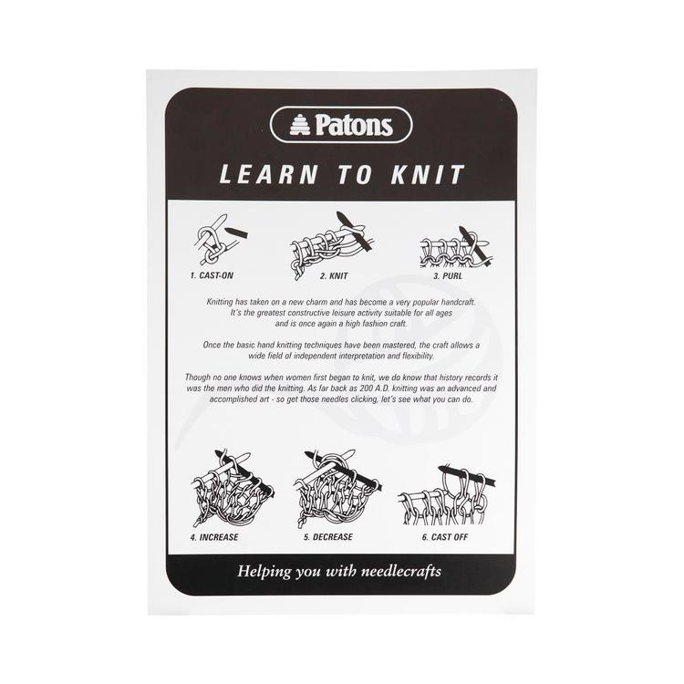 Patons Learn To Knit Book Leaflet White