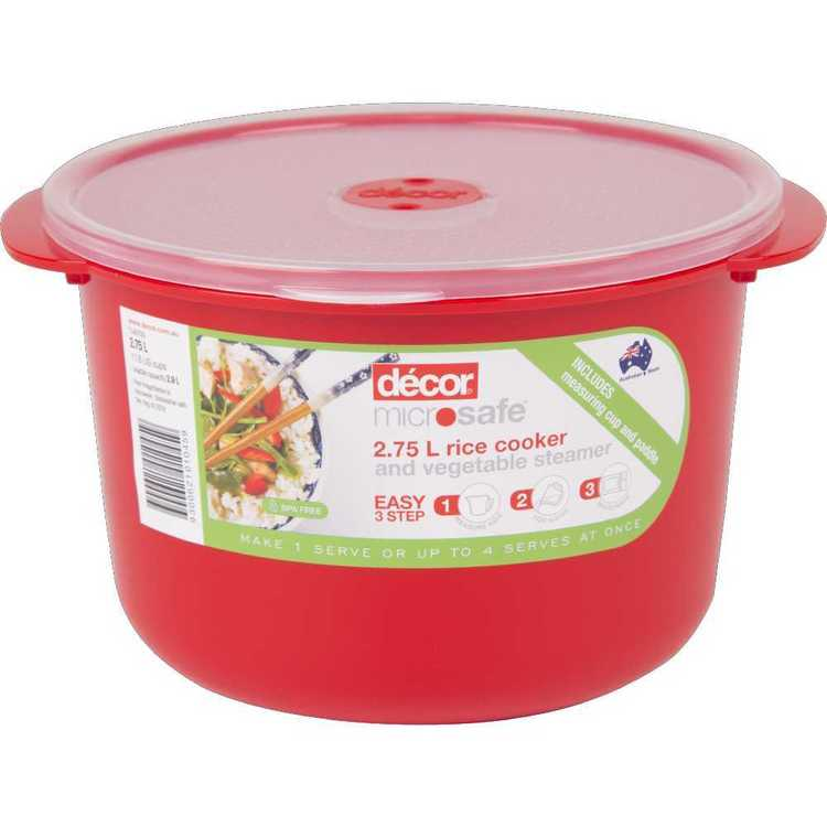 Decor Microsafe Rice Cooker & Vegetable Steamer 2.75 L Red
