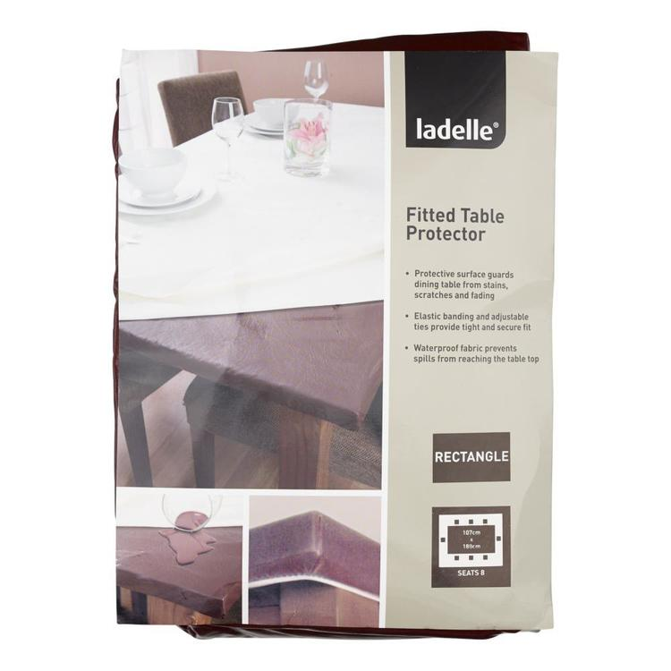Ladelle Inhabit Rectangle Fitted Table Protector Brown 107 X 180 Cm