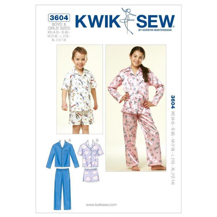 Kwik Sew Pattern K3604 Boys' & Girls' Pajamas