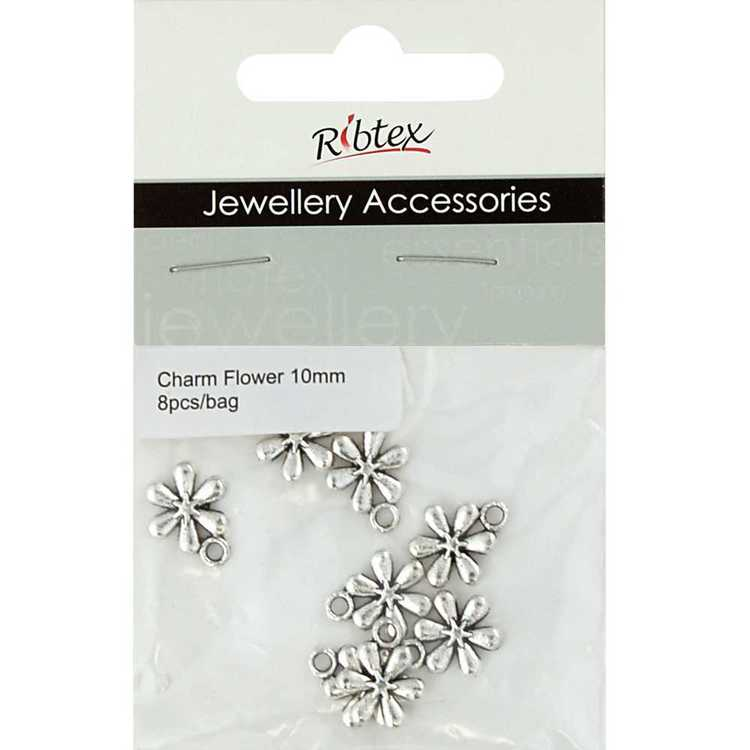 Ribtex Jewellery Accessories 6 Petals Flower Charms Silver 10 mm