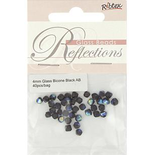 Ribtex Reflections Bicone Glass Beads 40 Pack