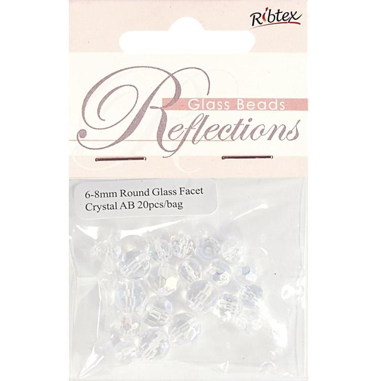 Ribtex Reflections Faceted Round Glass Beads 20 Pack