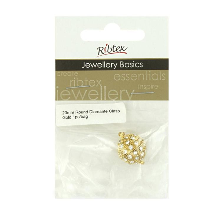 Ribtex Jewellery Basics Diamante Round Magnetic Clasp