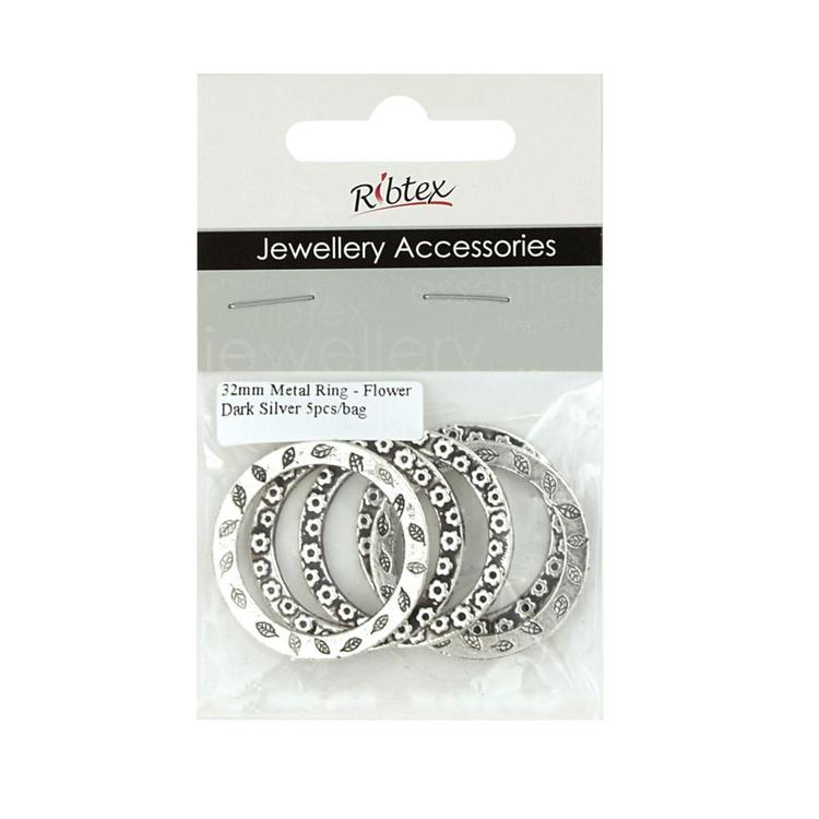 Ribtex Jewellery Accessories Metal Rings With Flowers Silver 32 mm