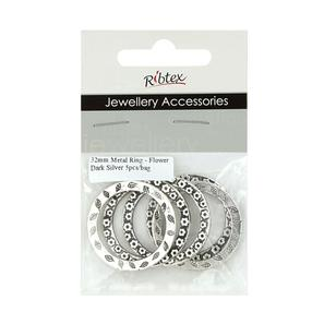 Ribtex Jewellery Accessories Metal Rings With Flowers