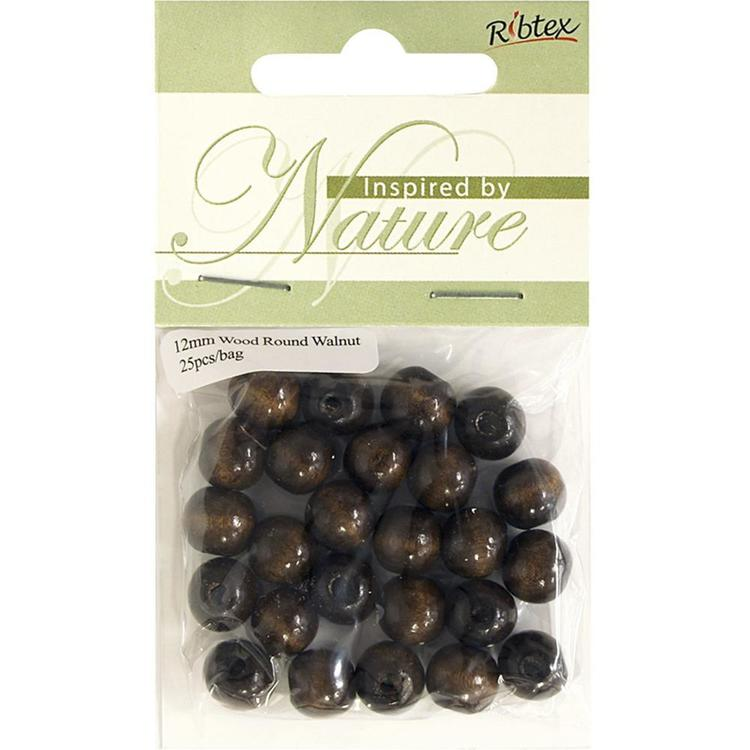 Ribtex Inspired By Nature Round Wood Beads 25 Pack Walnut 12 mm