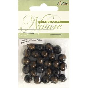 Ribtex Inspired By Nature Round Wood Beads 25 Pack