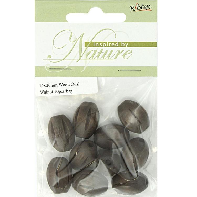 Ribtex Inspired By Nature Oval Wood Beads 10 Pack Walnut 15 x 20 mm