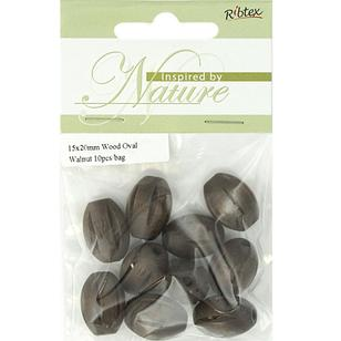Ribtex Inspired By Nature Oval Wood Beads 10 Pack