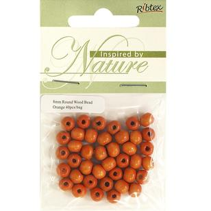 Ribtex Inspired By Nature Round Wood Beads 40 Pack
