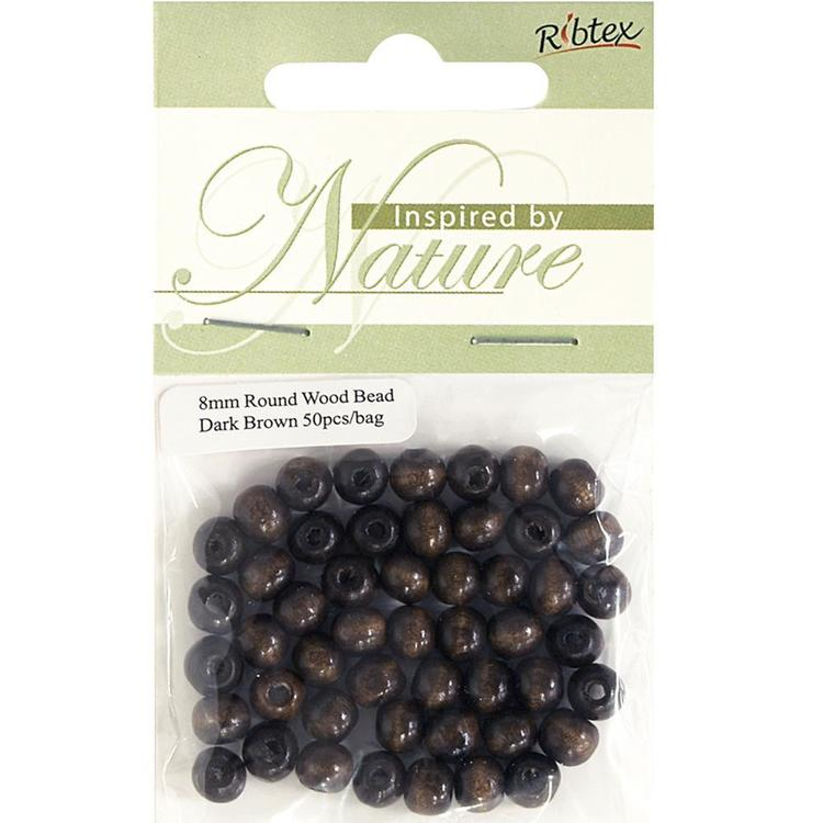 Ribtex Inspired By Nature Round Wood Beads 50 Pack
