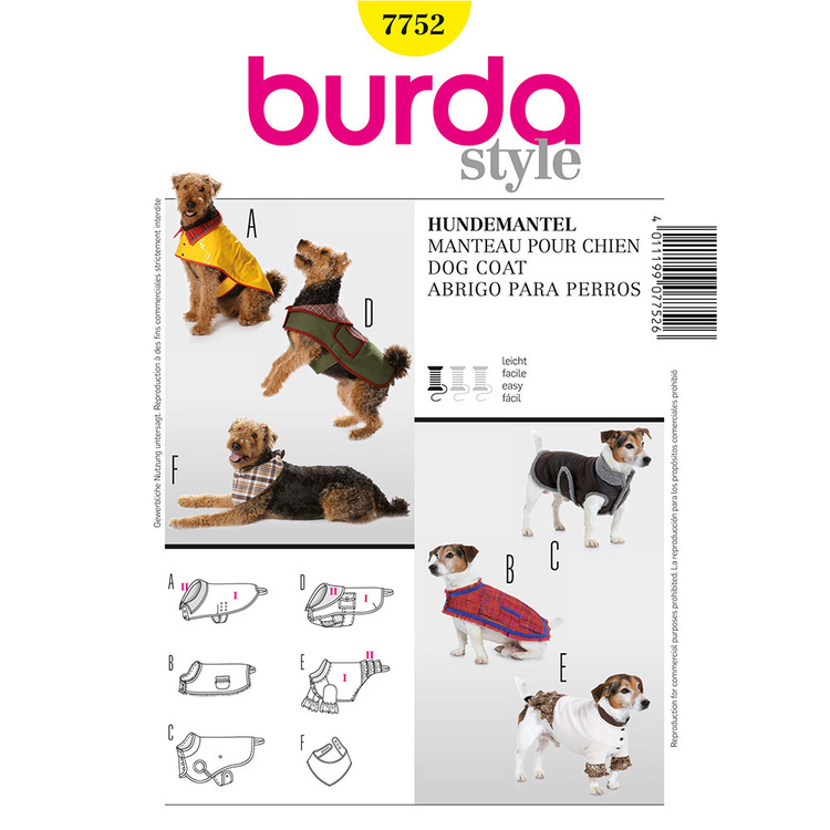 Burda Pattern 7752 Dog Coat