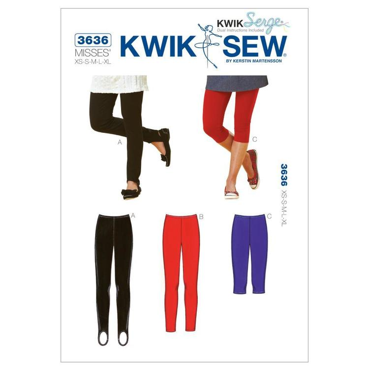 Kwik Sew Pattern K3636 Leggings  X Small - X Large