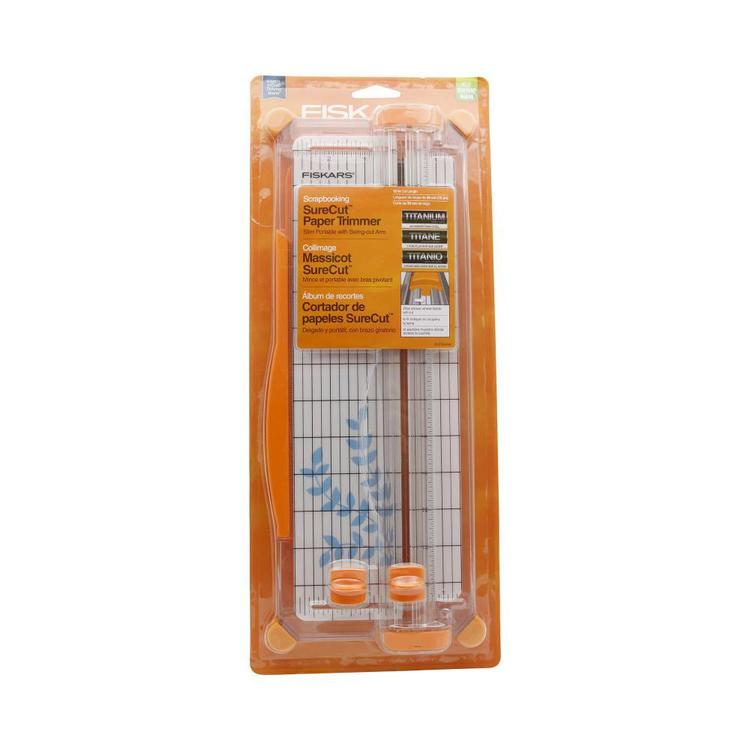 Fiskars Surecut Scrapbooking Trimmer White & Orange 12 in