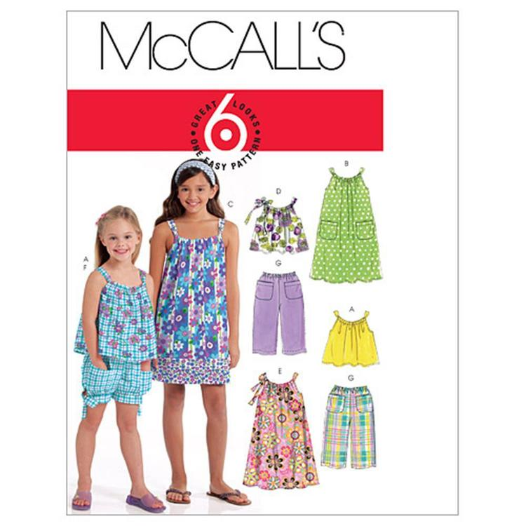 McCall's Pattern M5797 Girls' Tops Dresses Shorts & Pants