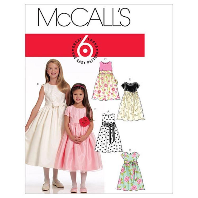 McCall's Pattern M5795 Girls' Lined Dresses & Sash