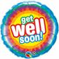 Qualatex Get Well Soon Radiant Foil Balloon Multicoloured 45 cm