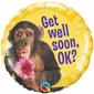 Qualatex Get Well Chimp With Flower Foil Balloon Yellow