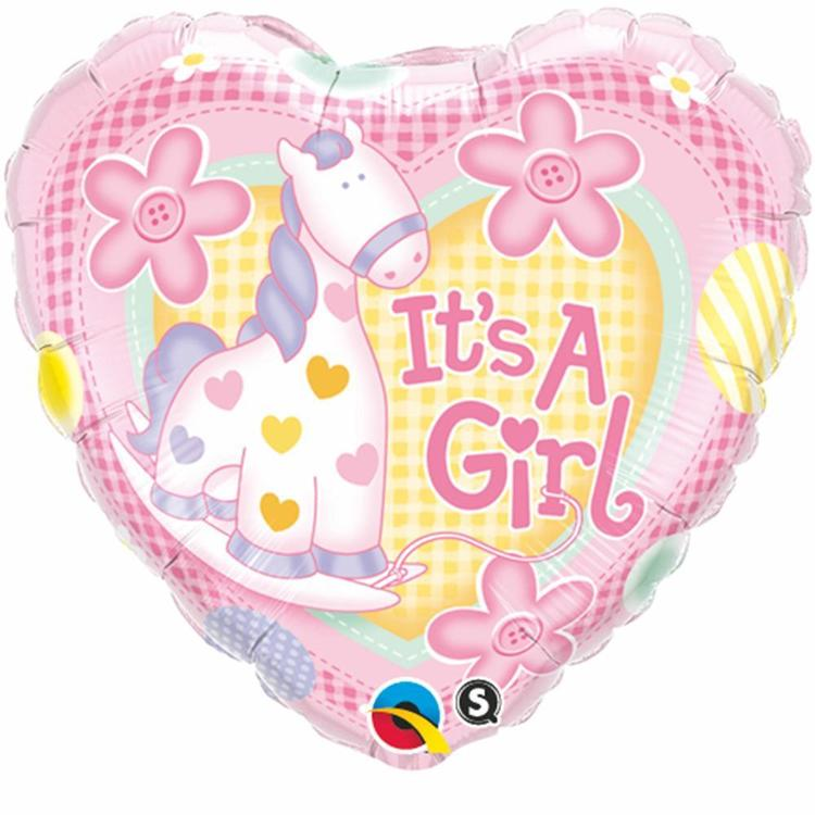 Qualatex It's A Girl Soft Pony Foil Balloon Pink 45 cm