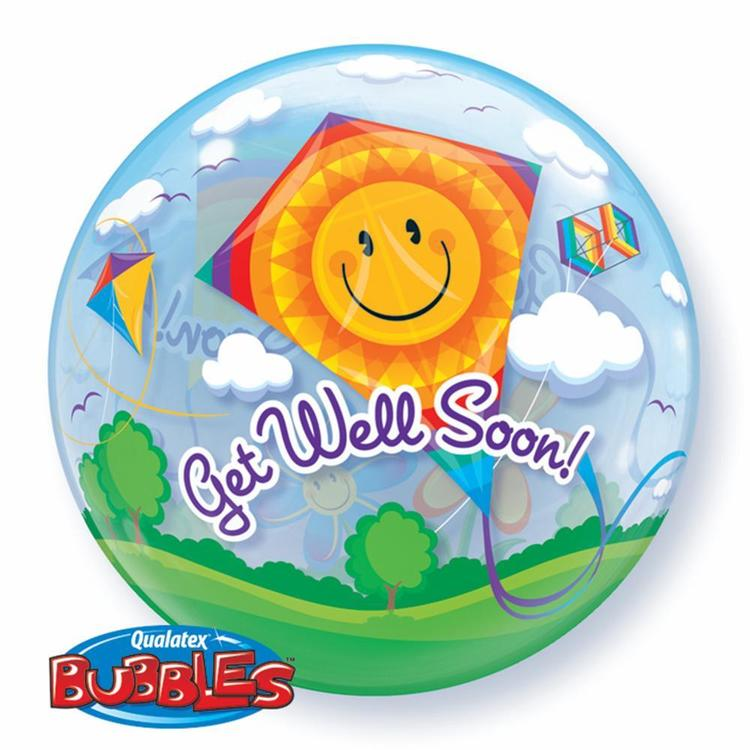 Qualatex Bubbles Get Well Soon Kites Balloon Multicoloured