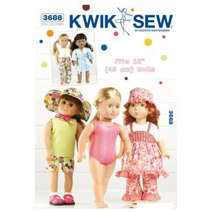 "Kwik Sew K3688 Playtime Clothes for 18"" Doll"