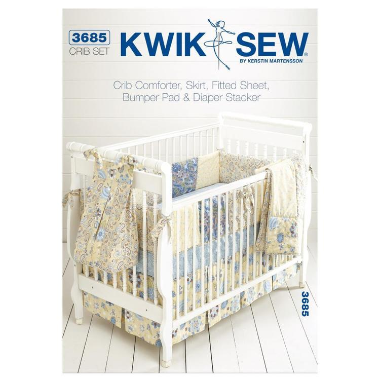 Kwik Sew Pattern K3685 Crib Comforter Skirt Fitted Sheet Bumper Pad & Diaper Stacker