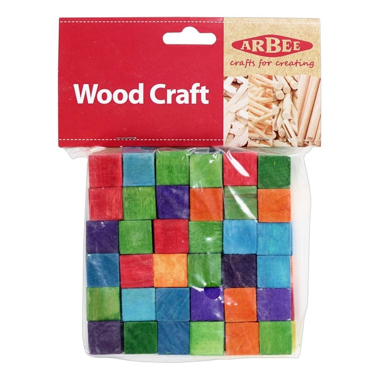 Arbee Wooden Craft Cubes Natural