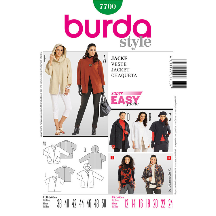 Burda 7700 Women's Jacket  12 - 24