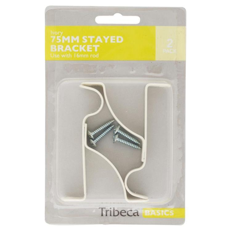 Tribeca 75 mm Stayed Single Bracket Ivory 75 mm