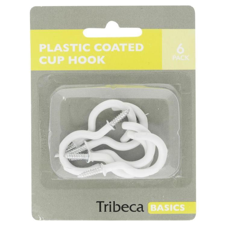 Tribeca Plastic Coated Cup Hooks White
