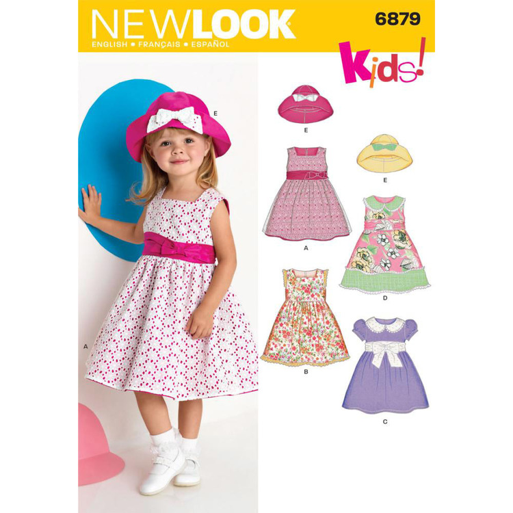 New Look Pattern 6879 Girl's Dress  6 Months - 4 Years