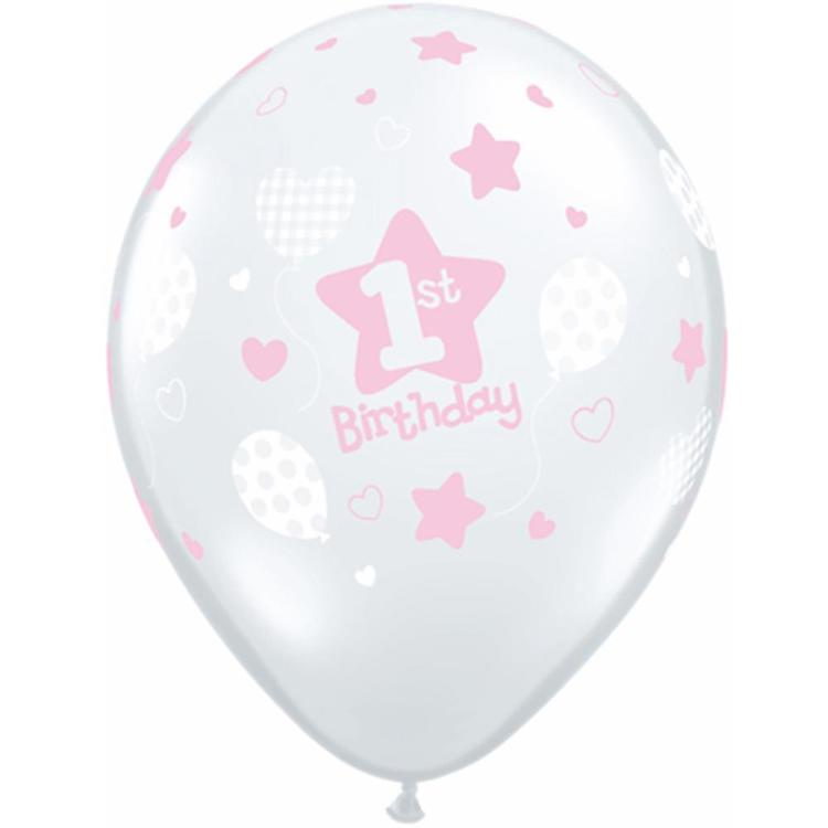 Qualatex Girls 1st Birthday Soft Patterns Latex Balloon Diamond Clear