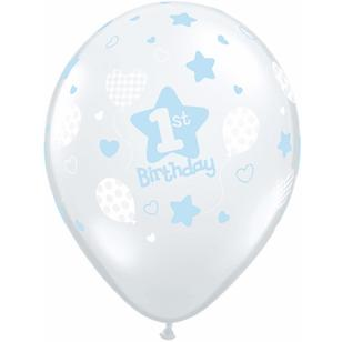 Qualatex Boys 1st Birthday Soft Patterns Latex Balloon