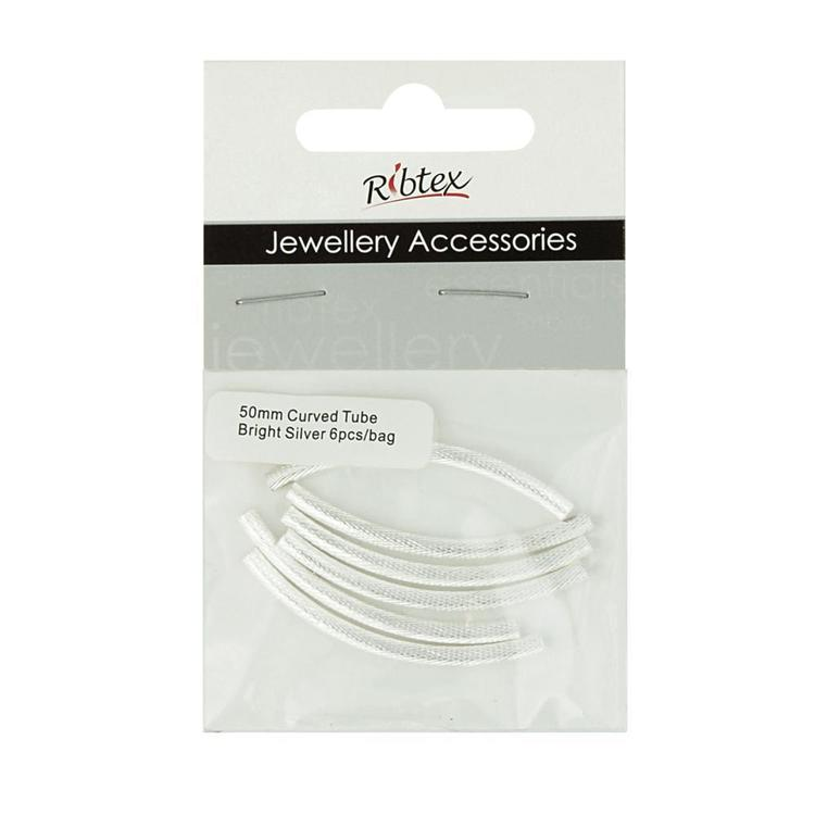 Ribtex Jewellery Accessories Curved Tube Accessories Silver 50 mm