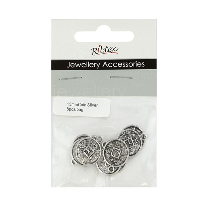 Ribtex Jewellery Accessories Coin Charm Silver 15 mm