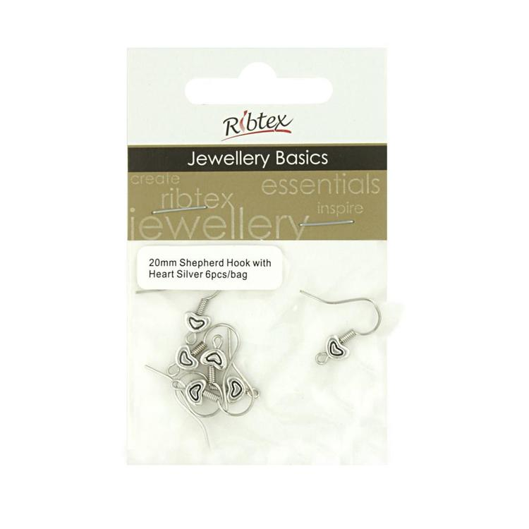 Ribtex Jewellery Basics Shepherd Earring Hook With Heart Silver 20 mm
