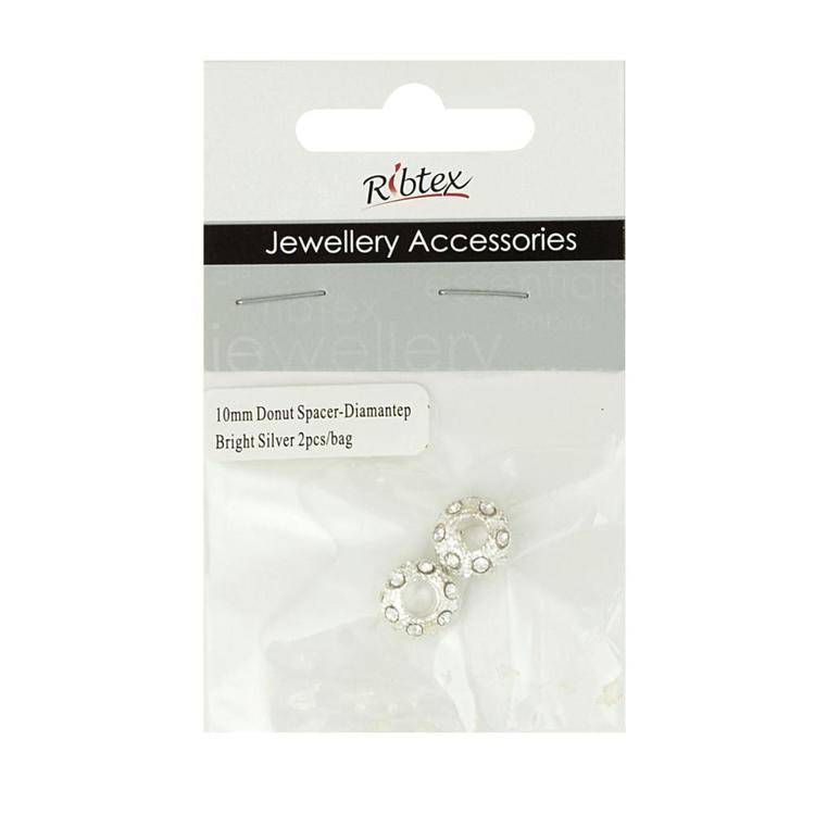 Ribtex Jewellery Accessories Donut Spacer With Diamante Bright Silver 10 mm