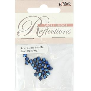 Ribtex Reflections Metallic Bicone Beads