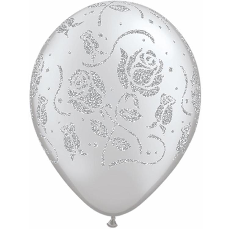 Qualatex Glitter Roses Silver Latex Balloon