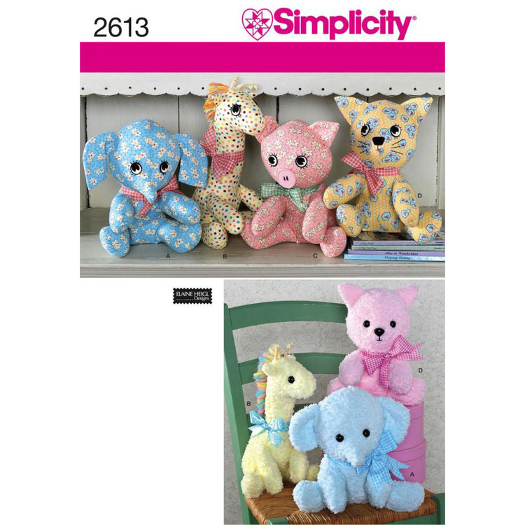 Simplicity Pattern 2613 Kids' Stuffed Animals