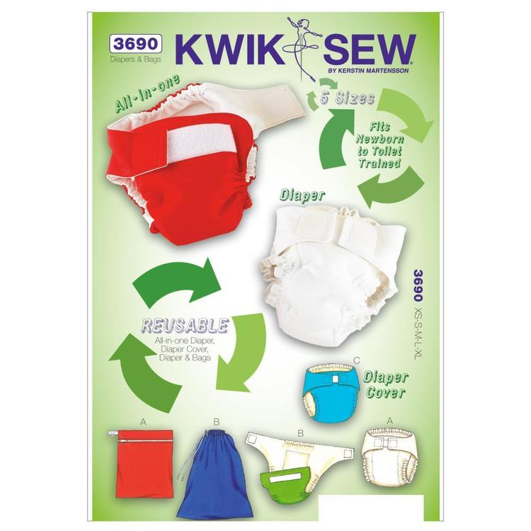 Kwik Sew Pattern K3690 Diapers Diaper Cover Insert & Bags X Small - X Large