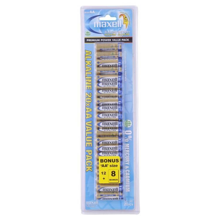 Maxell Premium Alkaline Battery AA Value 20 Pack