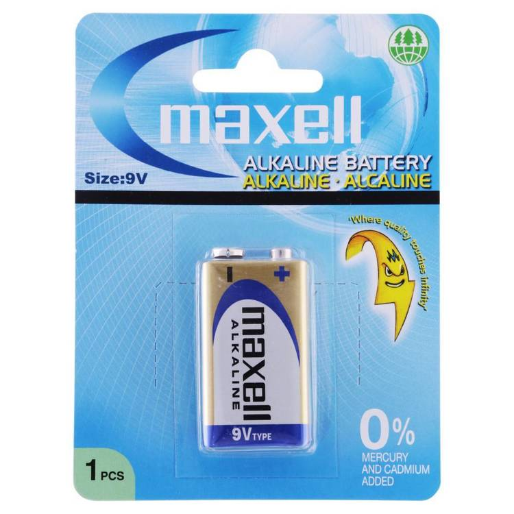 Maxell Premium Alkaline Battery 9V 1 Pack Multicoloured C