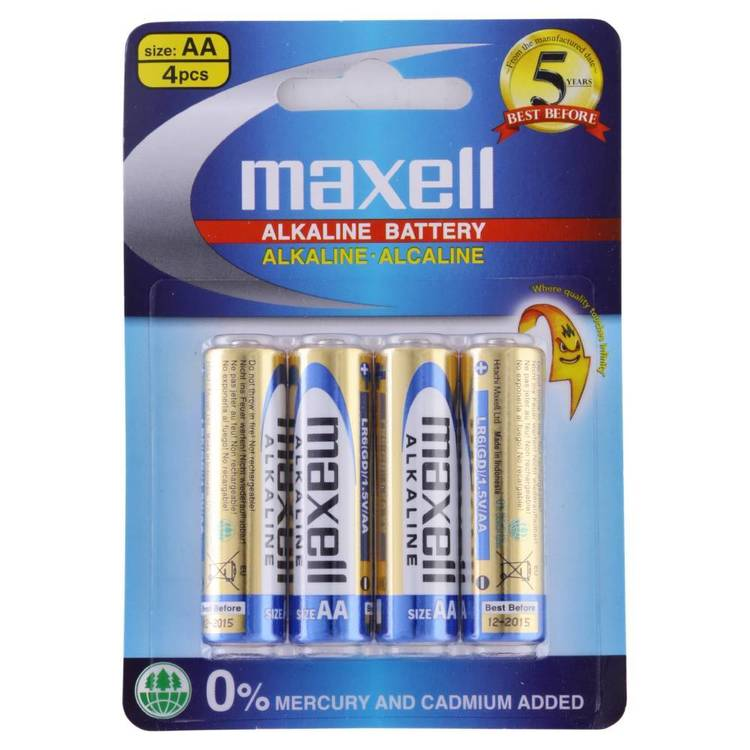 Maxell Premium Alkaline Battery AA 4 Pack