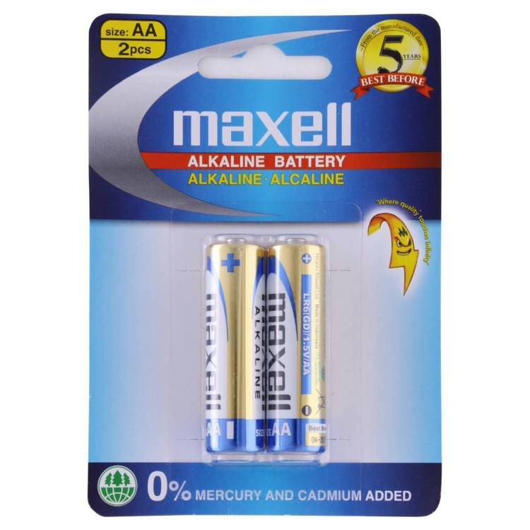 Maxell Premium Alkaline Battery AA 2 Pack