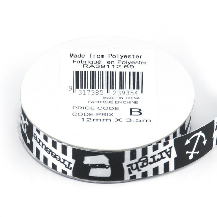 Celebrate 12 mm Satin Pirate Stories Ribbon Black & White 12 mm x 3.5 m